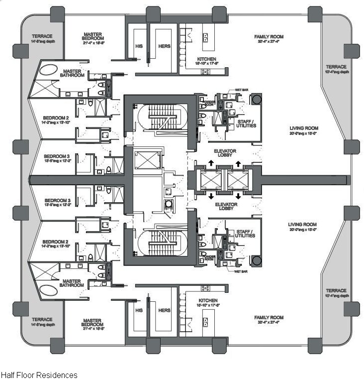 Floor plans 1000 museum miami condo 1000 biscayne blvd for Floor plans 900 biscayne